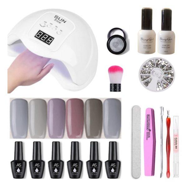 Gel polish gray nails SUN Five UVLED